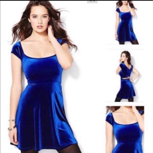 Garage Royal Blue velvet dress